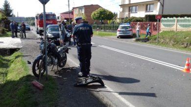 Photo of Zderzenie motocyklisty z samochodem osobowym