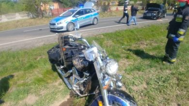 Photo of Zderzenie samochodu osobowego z motocyklem